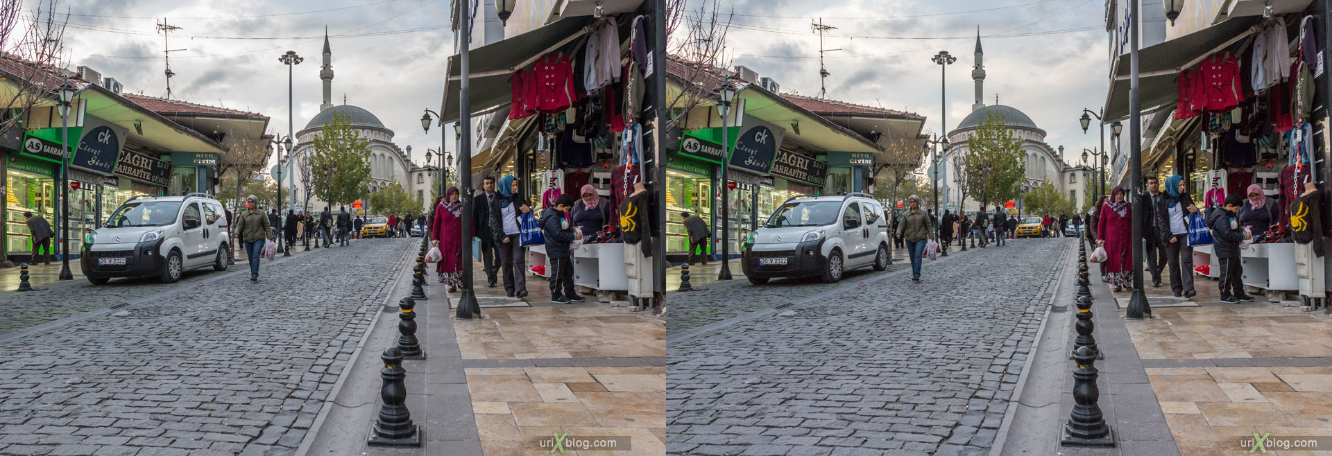 Denizli, Turkey, city, 3D, stereo pair, cross-eyed, crossview, cross view stereo pair, stereoscopic, 2014