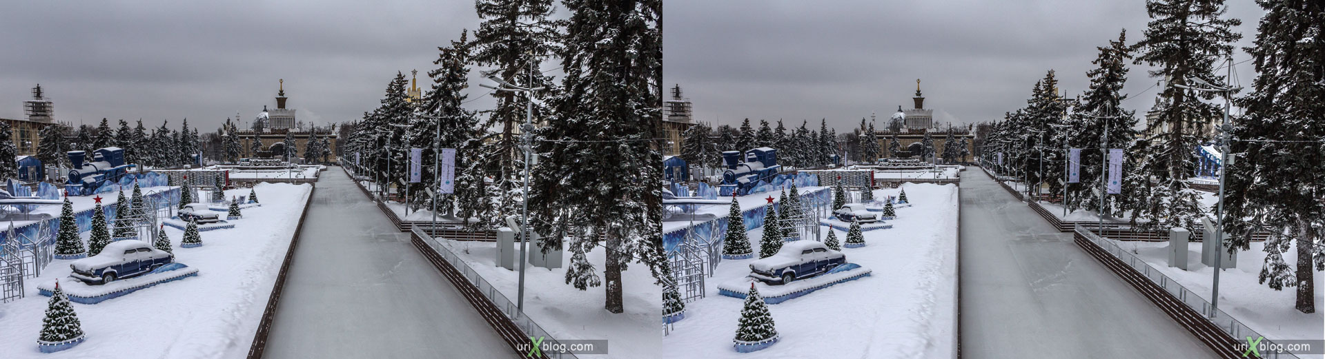 Skating-rink, VDNKh, VVTs, park, winter, ice, snow, Moscow, Russia, 3D, stereo pair, cross-eyed, crossview, cross view stereo pair, stereoscopic, 2015