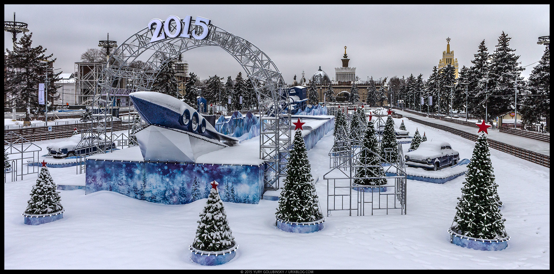Ice skating rink, VDNKh, park, ice, snow, winter, soviet, rocket, architecture, Moscow, Russia, January, panorama, 2015