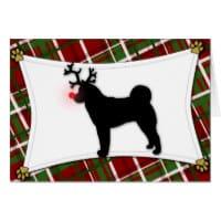 Akita Reindeer Christmas Card