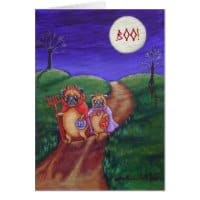 Pug Trick or Treat Greetings Card