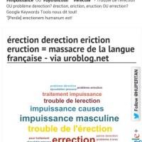 """Dossier: dysfonction érectile (impuissance) ⤵ Trouble de l'érection ∨ problème derection? Erction, eriction, eruction, errection et même """"Erections Présidentielles"""""""