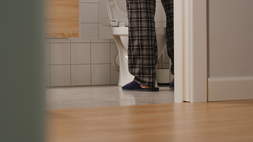 Adult man in a toilet at home