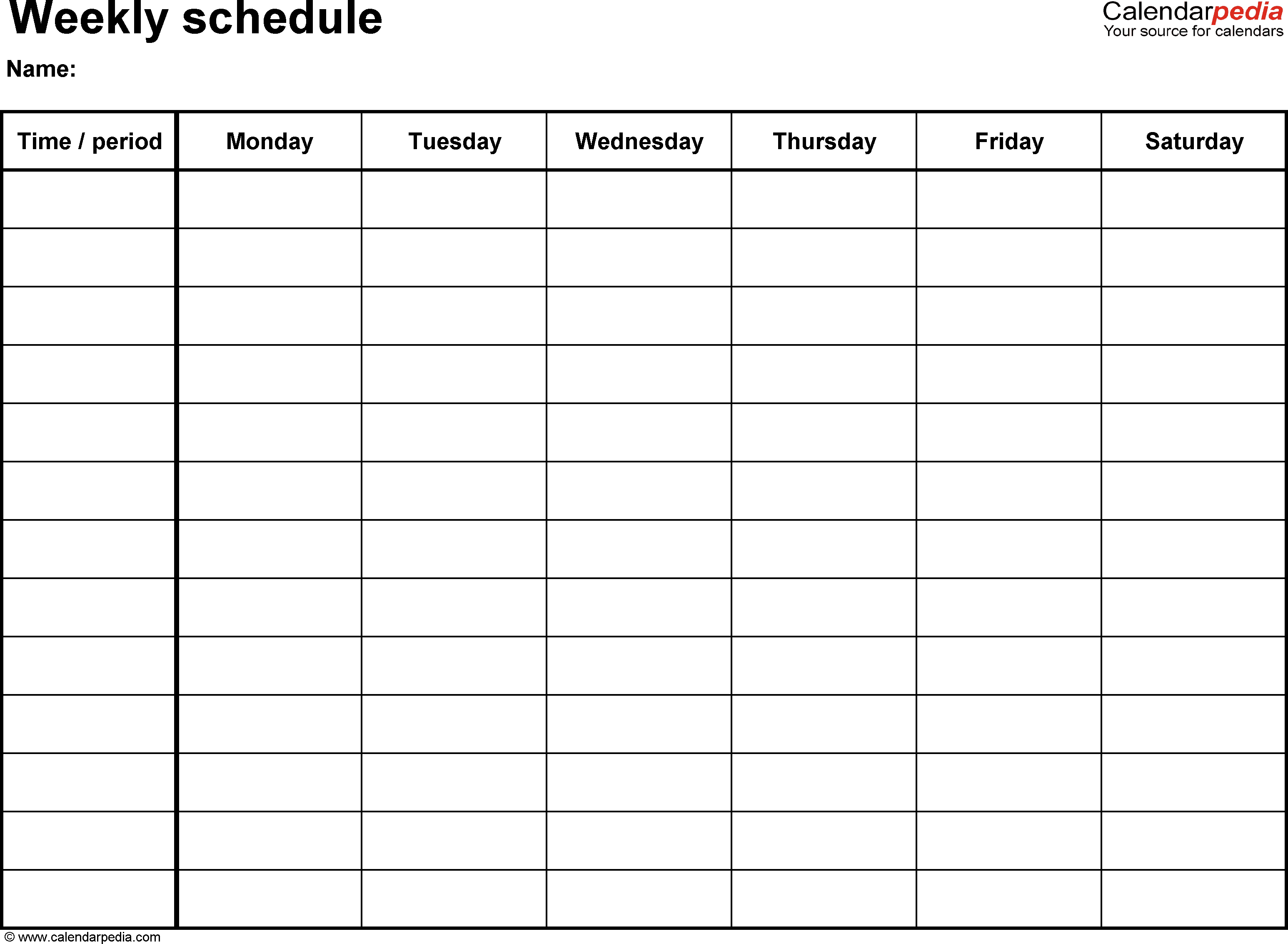 Printable Schedule Template