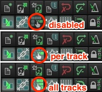 """Ripple editing in Reaper: Click once for """"per track"""" or twice for """"all tracks"""" options"""
