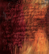 Ursula Kolbe 'Distant Voices'. Oil and oil stick on canvas 60x55cm
