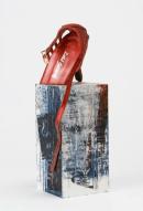 Ursula Kolbe 'Mi Noche Triste IV'. Found materials, mixed media 30x9x9cm