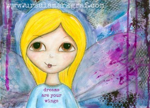 """Dreams are your wings"" - original available HERE and postcards available HERE"