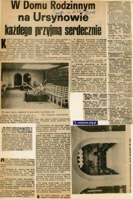 """Express Wieczorny, 20 października 1978. Otwarto """"Dom Rodzinny"""", pierwszy dom kultury na Ursynowie."""