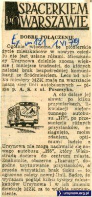 """""""Express Wieczorny"""" z z 1 czerwca 1979 chwali MZK za nową linię 195 i świetny tabor ją obsługujący."""