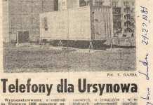"""Po czterech latach wreszcie postawiono małą centralę telefoniczną. W kontenerze. Tysiąc szczęśliwców połączy się ze światem. """"Trybuna Ludu"""", 21.03. 1981"""