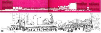"""To czerwone to widok centrum handlowo-usługowego od strony Alei KEN. Północ jest po lewej. Na dole zaś przekrój przez przejście podziemne pod Aleją KEN łączące Pasaż Imieliński z Ursynowskim o targowiskiem. A to wszystko na wysokości dzisiejszego kościoła. """"Architektura"""" 1975."""