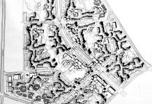 Reprodukcja projektu Ursynowa Północnego wykonana przez Warszawskie Przedsiębiorstwo Geodezyjne w 1975 roku.