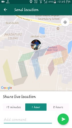 Send Live Location on Chats