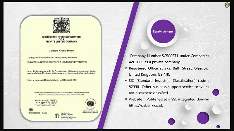 DaBank - Registration Details