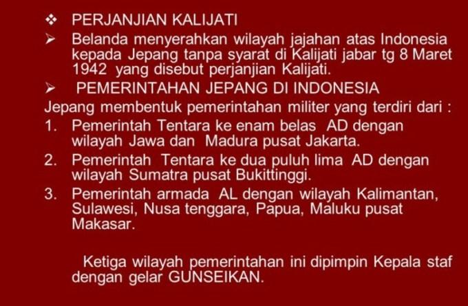Perjanjian kalijati merupakan penyerahan wilayah indonesia ke jepang oleh belanda