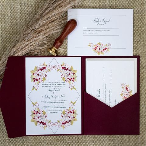 scarlet design pocketfold invitation