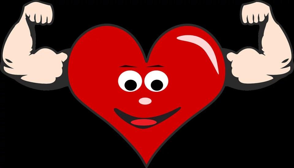 rysunkowe serce z silnymi ramionami, szlachetne zdrowie