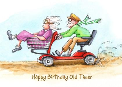 Scooters And Racing Birthday Card With Your Own Handwriting Atelier Michele Studio For Signed Card No 15987