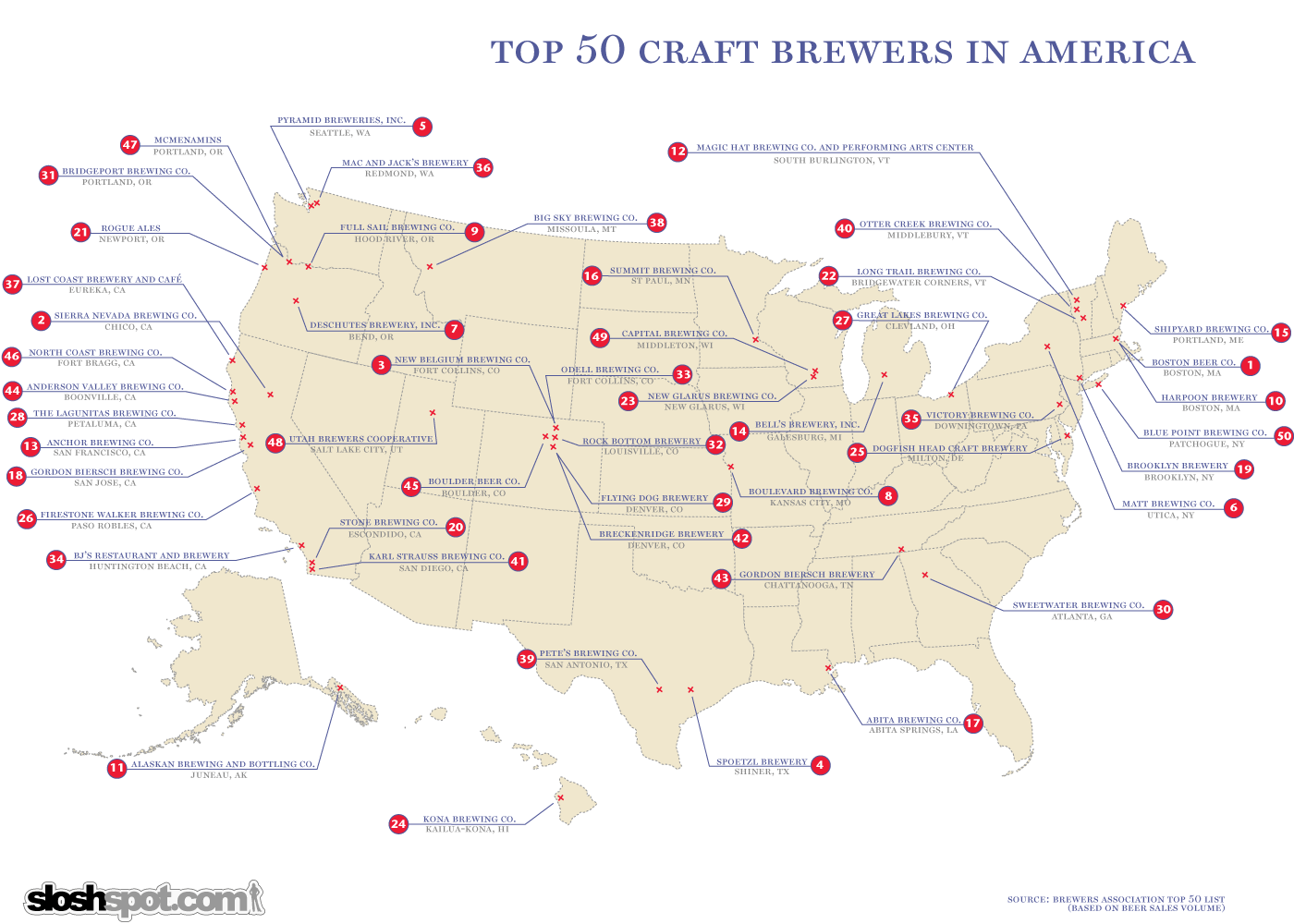 top craft brewers map