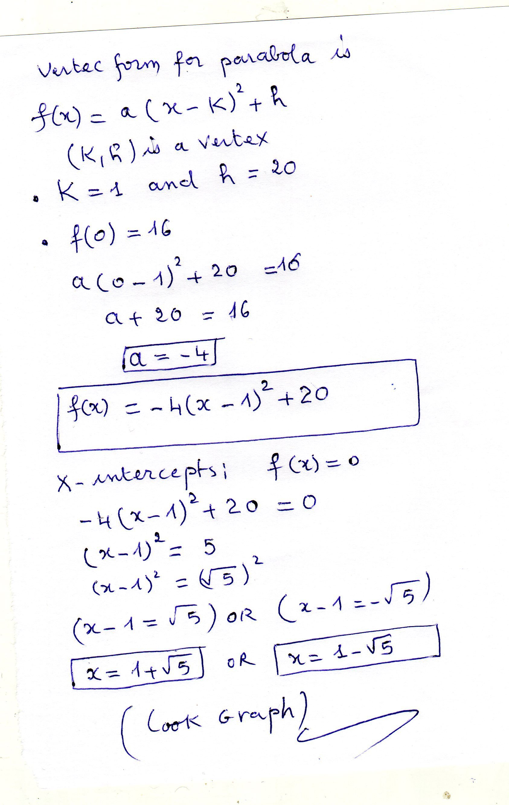 Find The X Intercepts Of The Parabola With Vertex 1 20