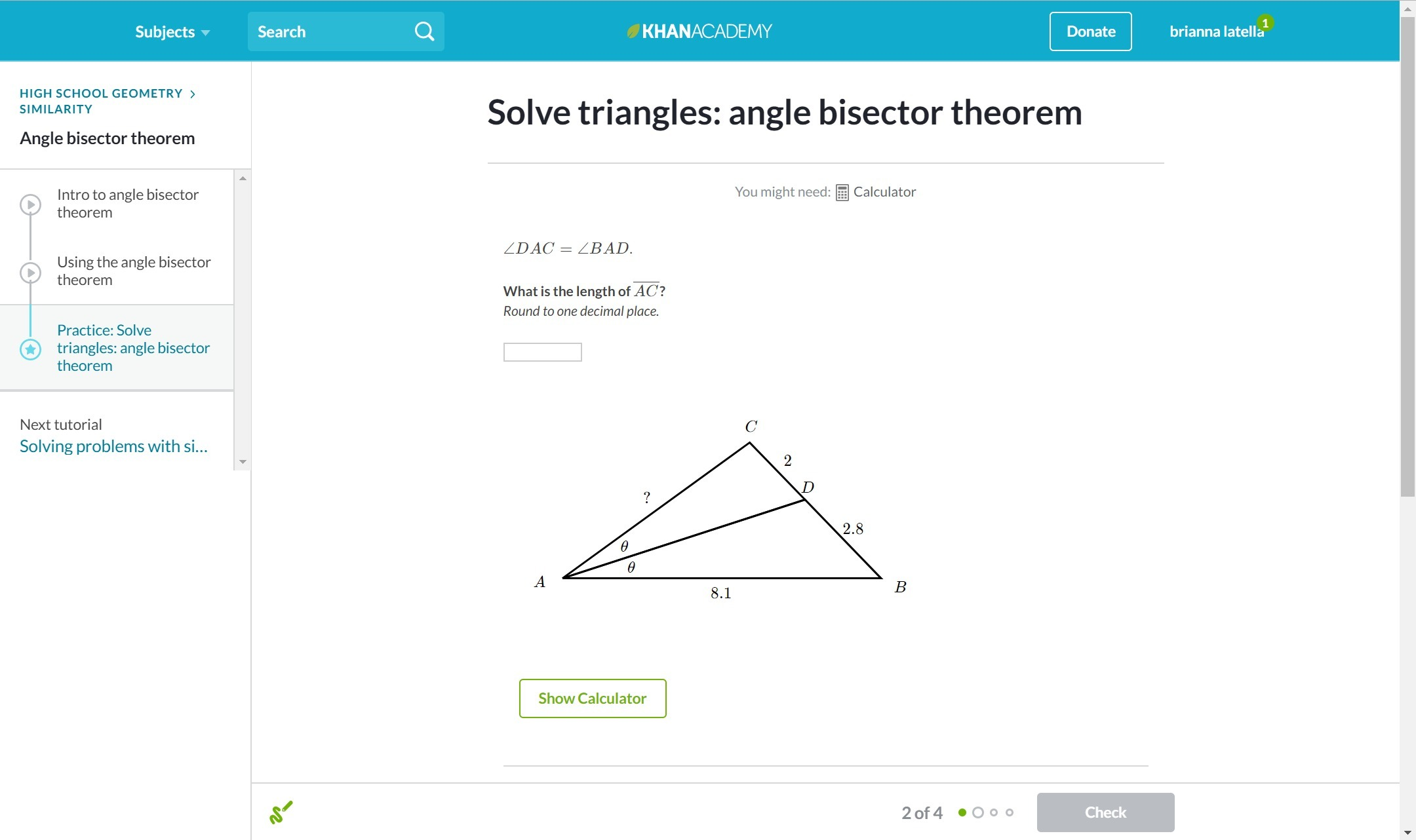 Triangle Angle Bisector Theorem