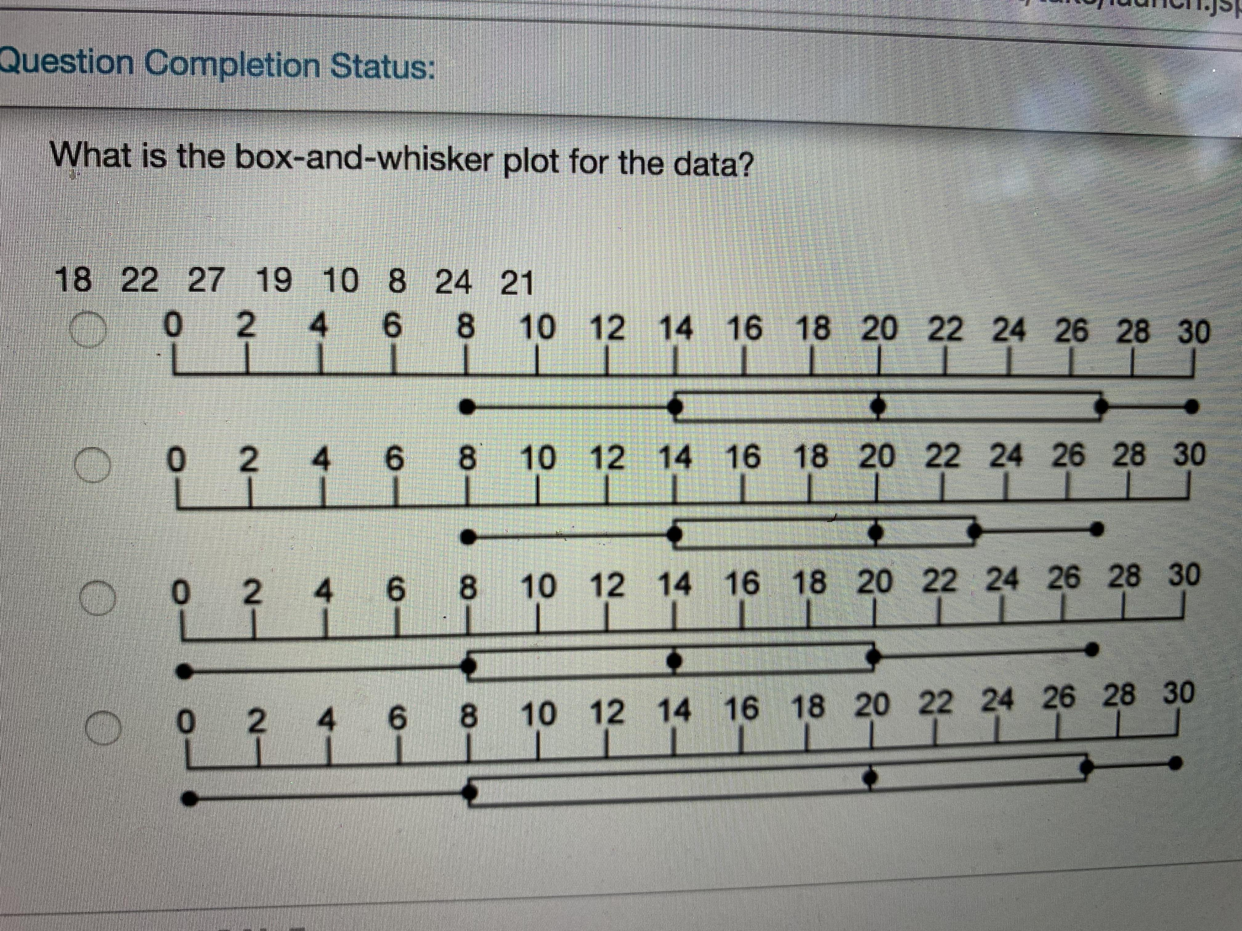 Which Is The Correct Box And Whisker Plot For The Data 18