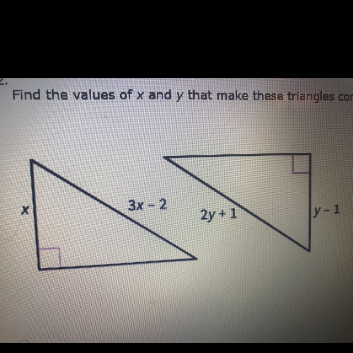 Find The Values Of X And Y That Make These Triangles