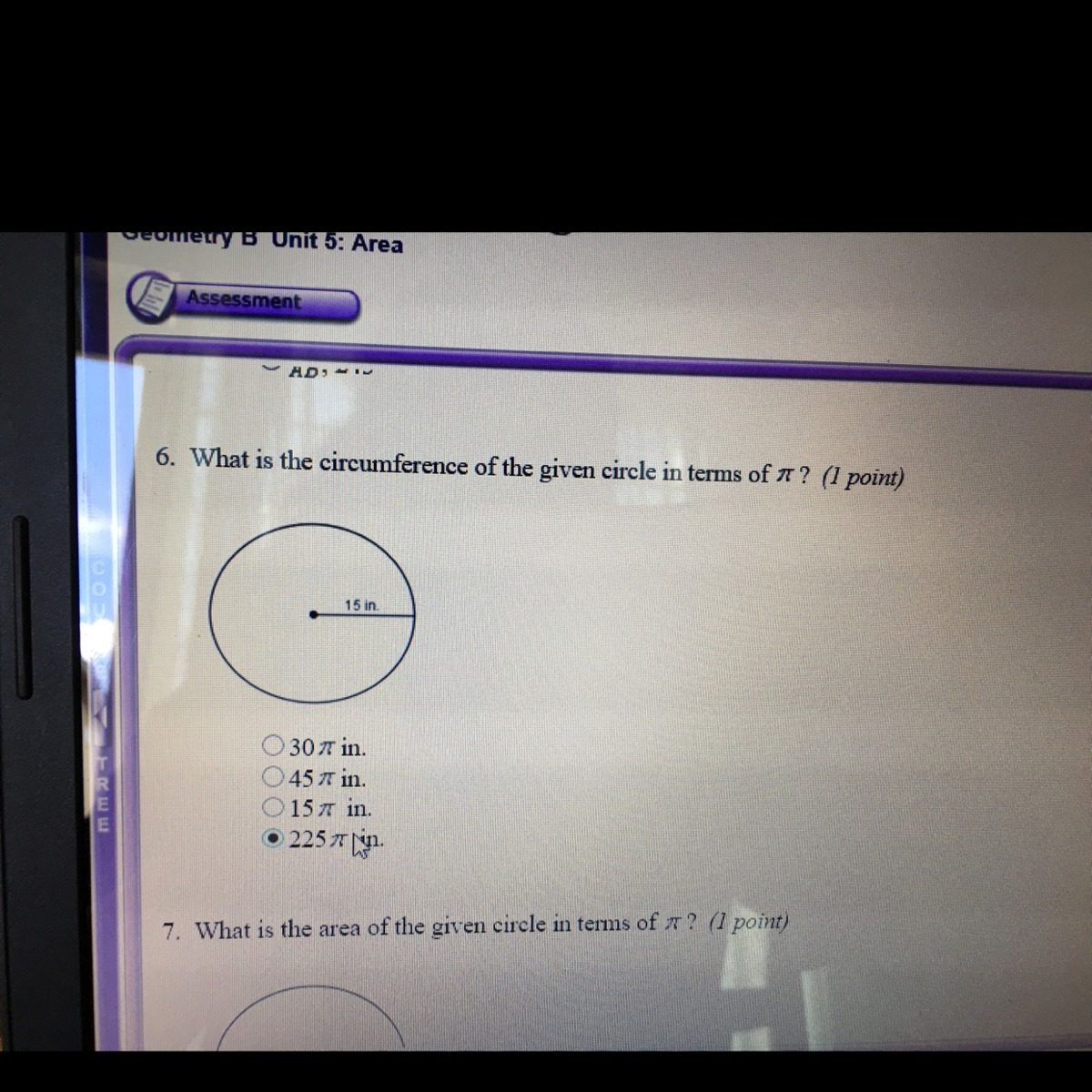 What Is The Circumference Of The Given Circle In Terms Of