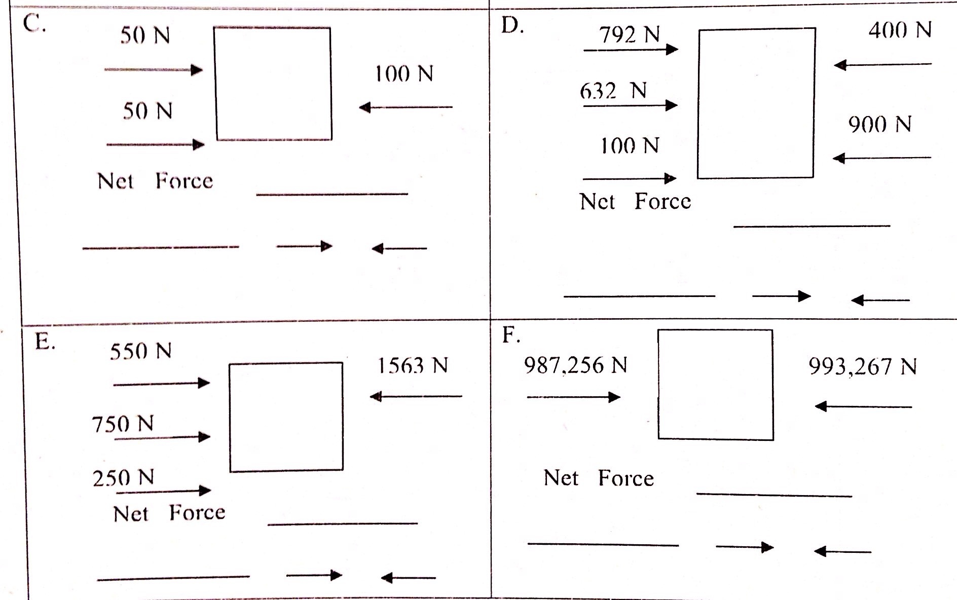 Please Help Me On Calculating Net Force Examples E And D