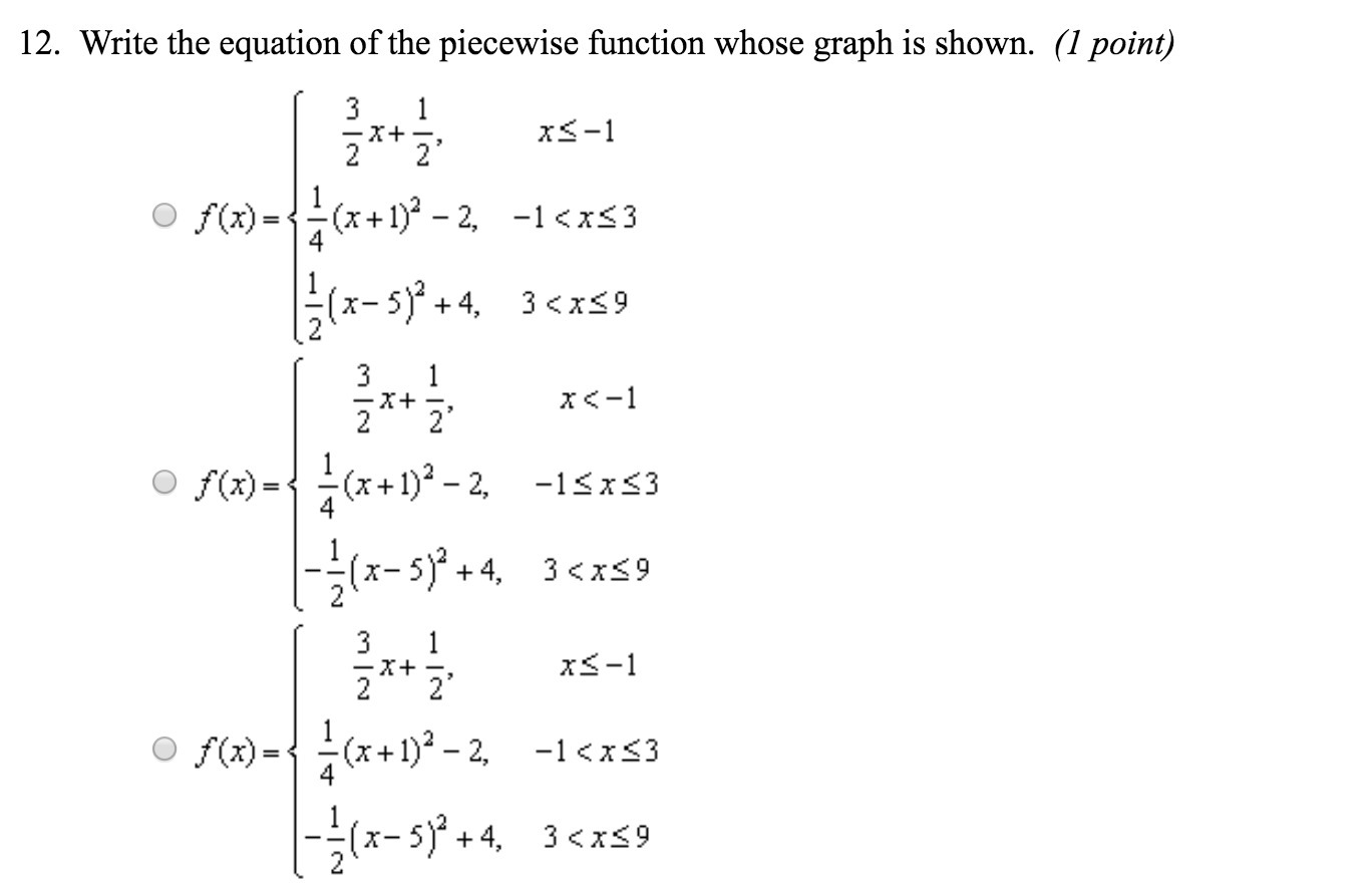 Write The Equation Of The Piecewise Function Whose Graph