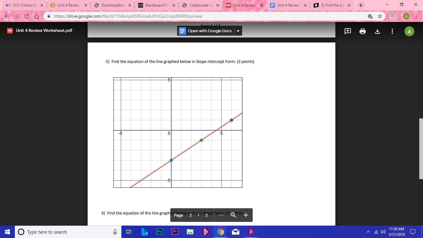 5 Find The Equation Of The Line Graphed Below In Slope