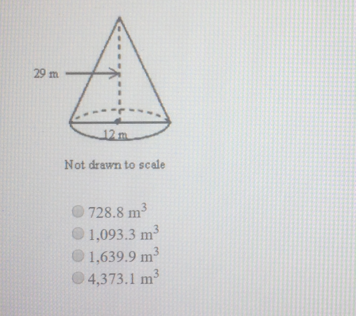 Find The Volume Of The Cone Shown As A Decimal Rounded To