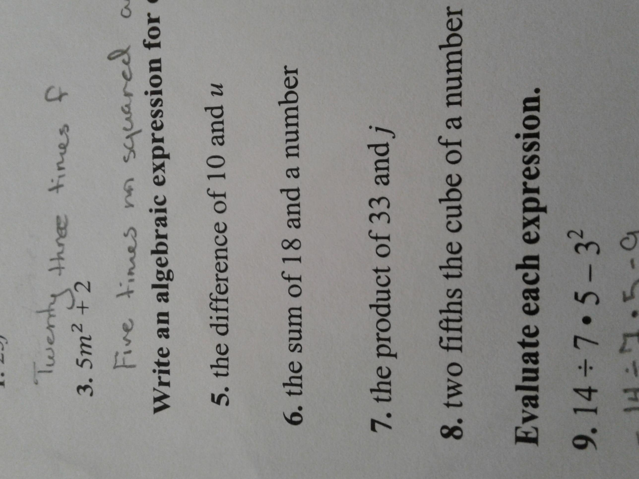 Write An Algebraic Expression For Each Verbal Expression