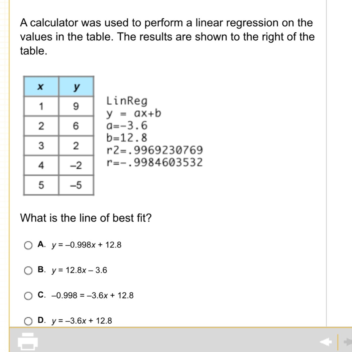A Calculator Was Used To Perform A Linear Regression On The Values In The Table The Results Are