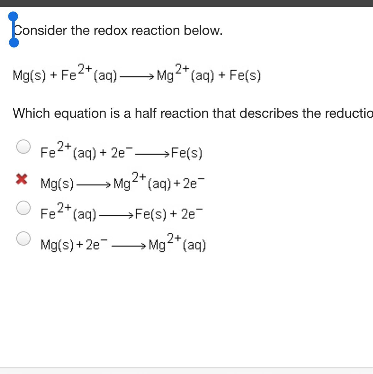 Consider The Redox Reaction Below Which Equation Is A