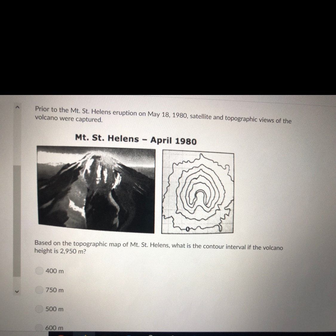 Based On The Topographic Map Of Mt St Helens What Is