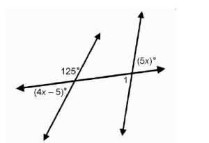 In the diagram, what is the measure of angle 1 to the