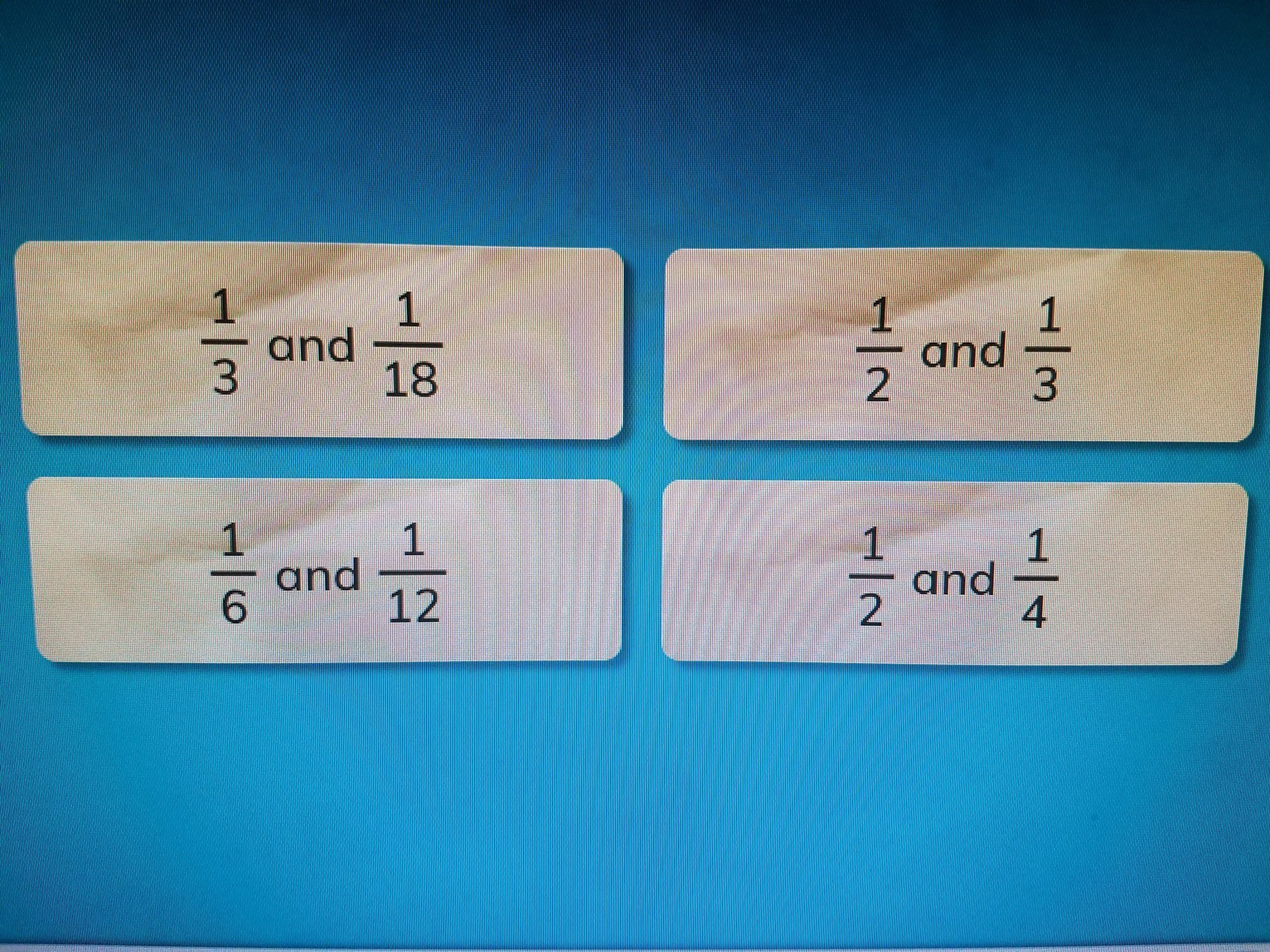 Which Two Fraction Have A Common Denominator Of 6