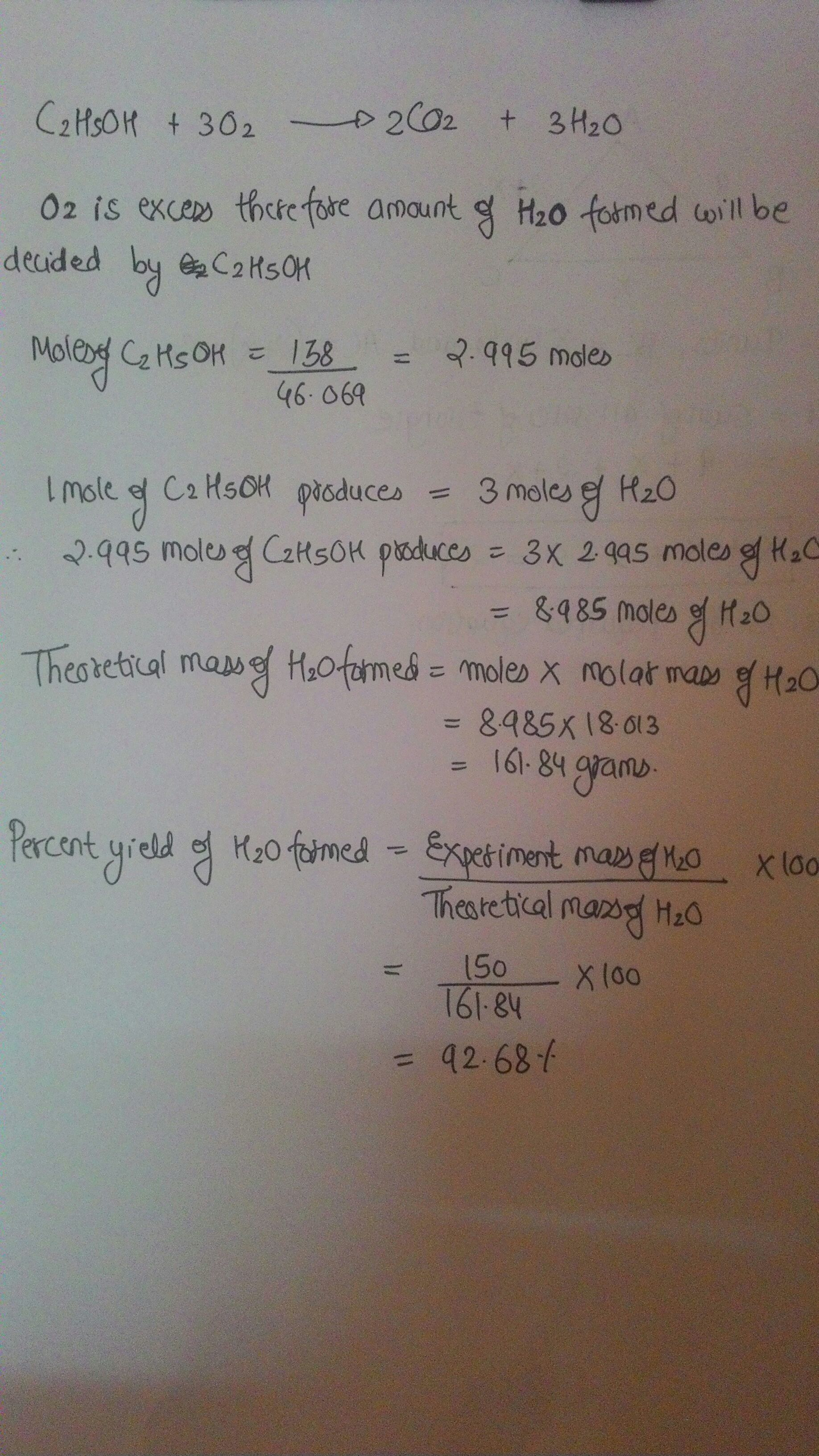 What Is The Percent Yield Of Water Produced When 138 G