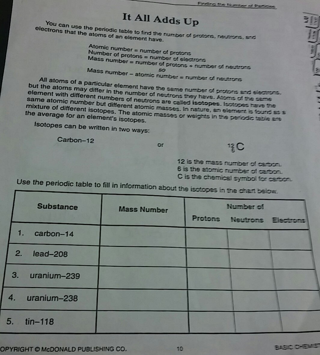 Chemistry Atomic Number And Mass Number Worksheet Answers