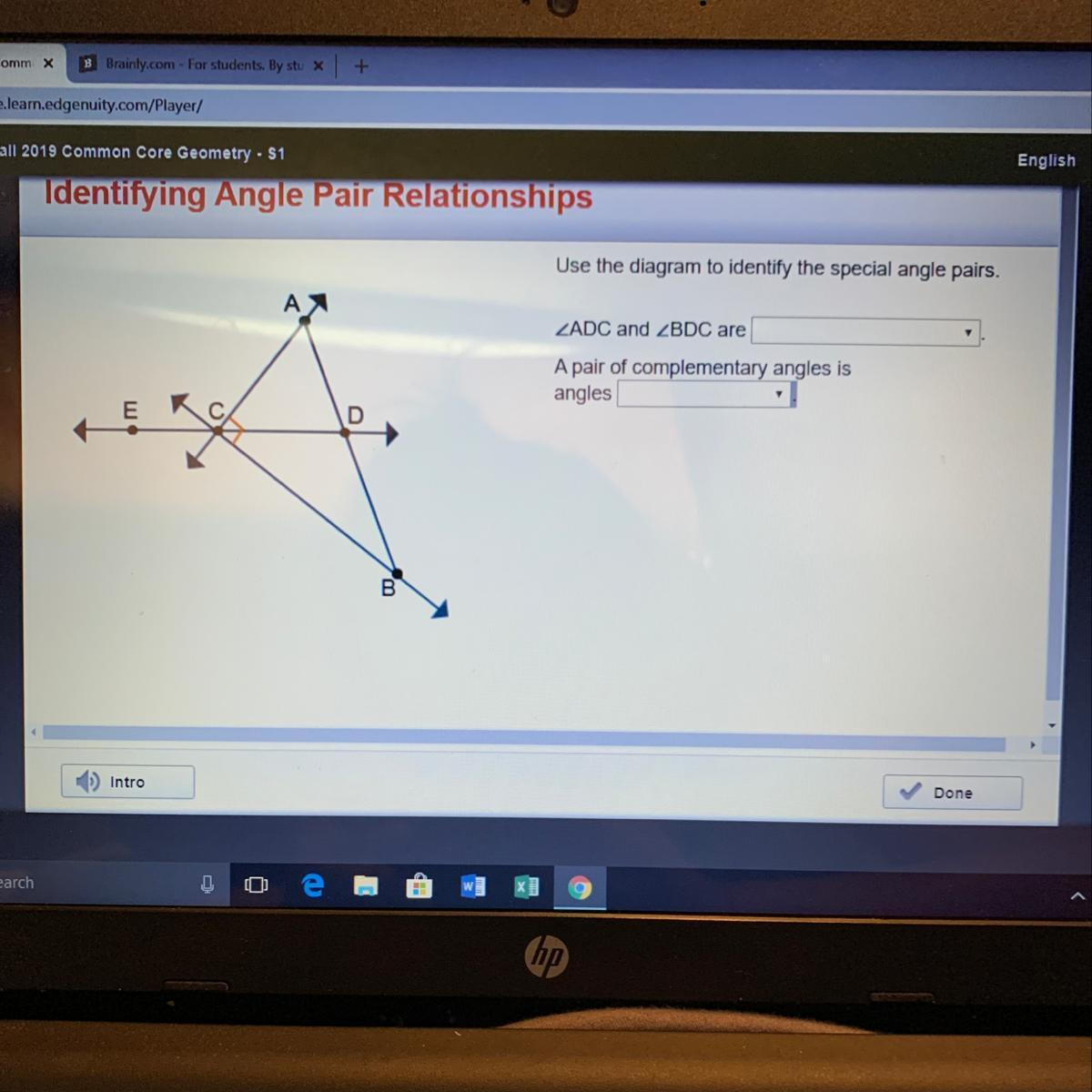 Complementary Angles Right Angles Supplementary Angles A