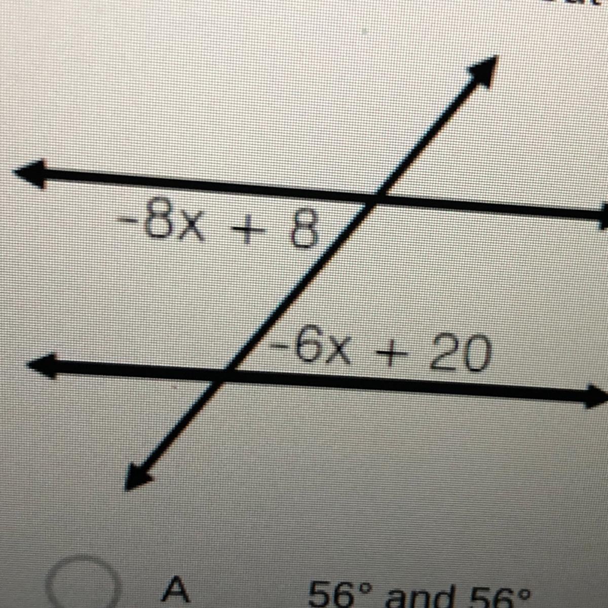 A Pair Of Parallel Lines Is Cut By A Transversal What Are
