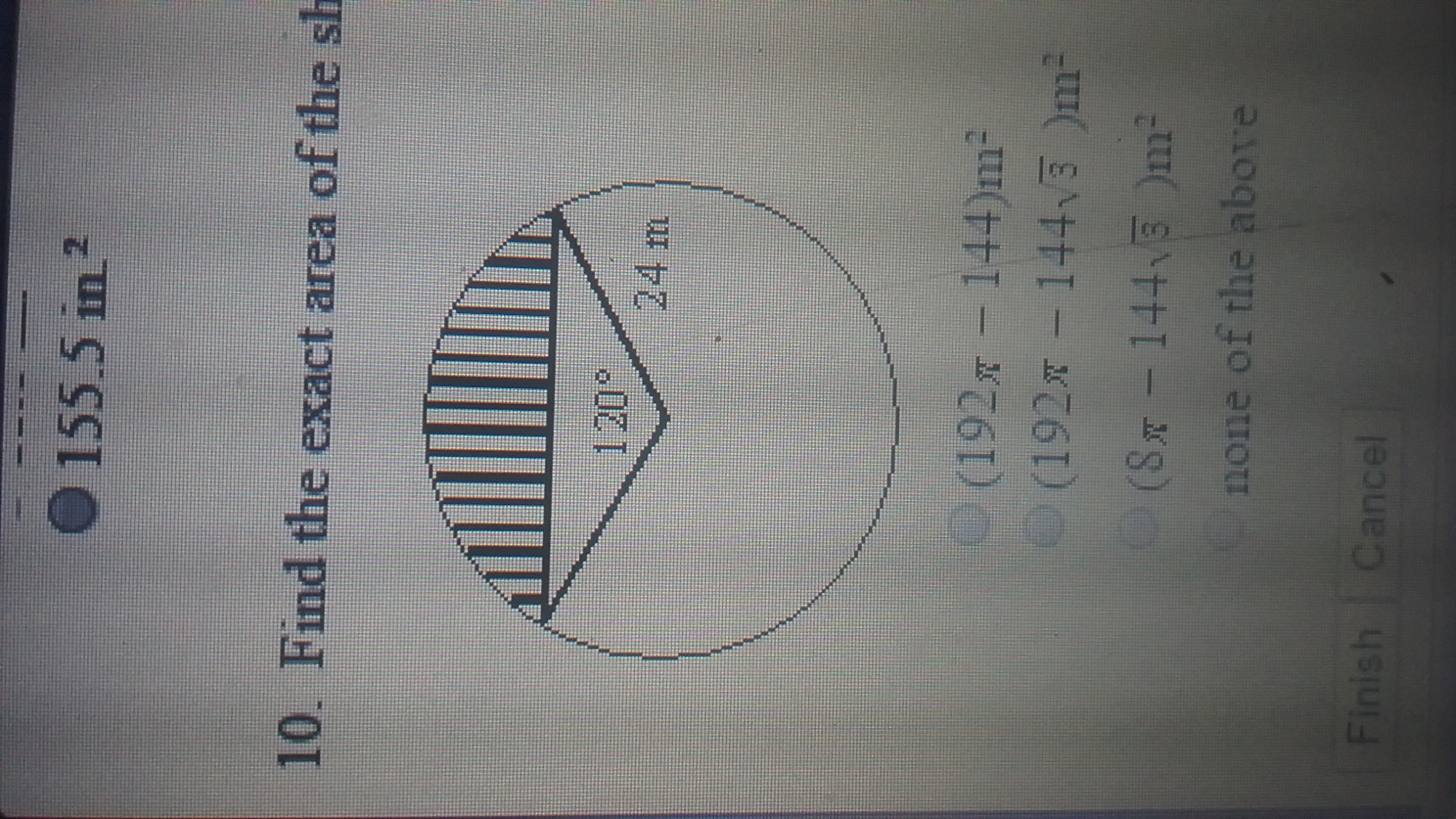 Find The Exact Area Of The Shaded Region A 192pi 144 M