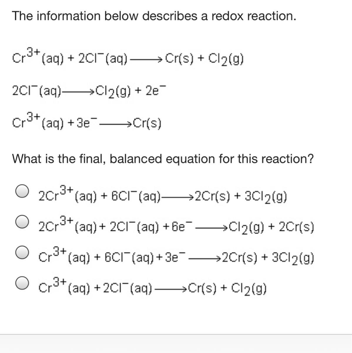 The Information Below Describes A Redox Reaction What Is