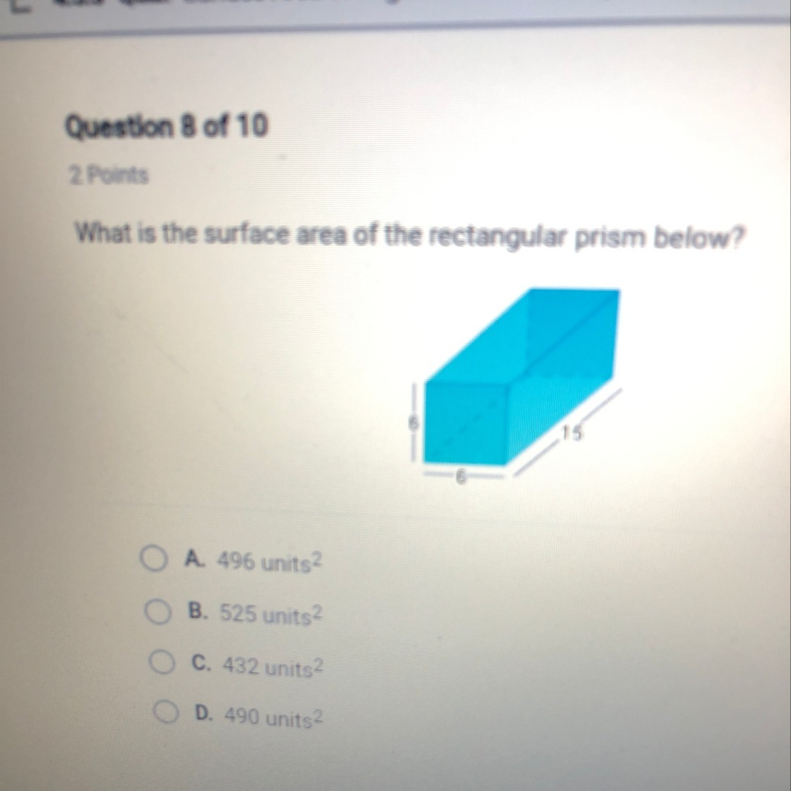 What Is The Surface Area Of The Rectangular Prism Below