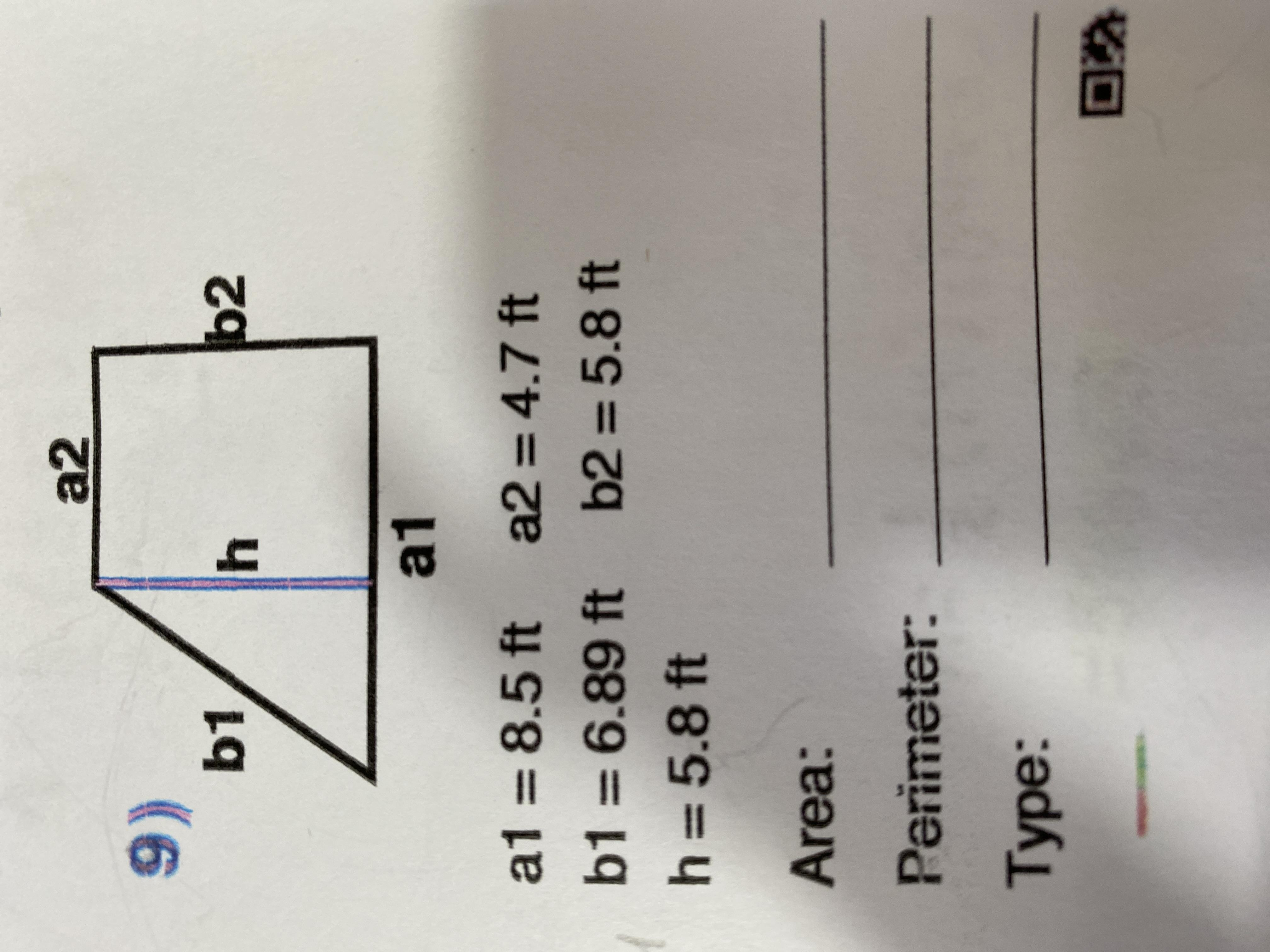 Identify And Calculate The Area And Perimeter For This