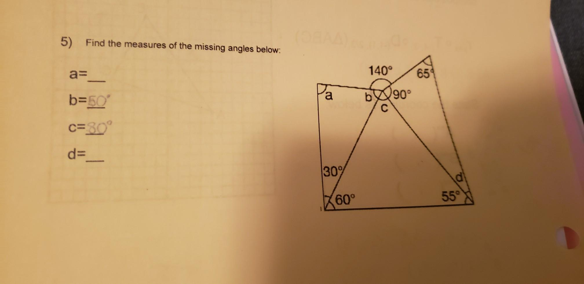 Find The Measures Of The Missing Angles