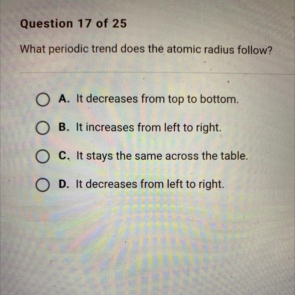What Periodic Trend Does The Atomic Radius Follow