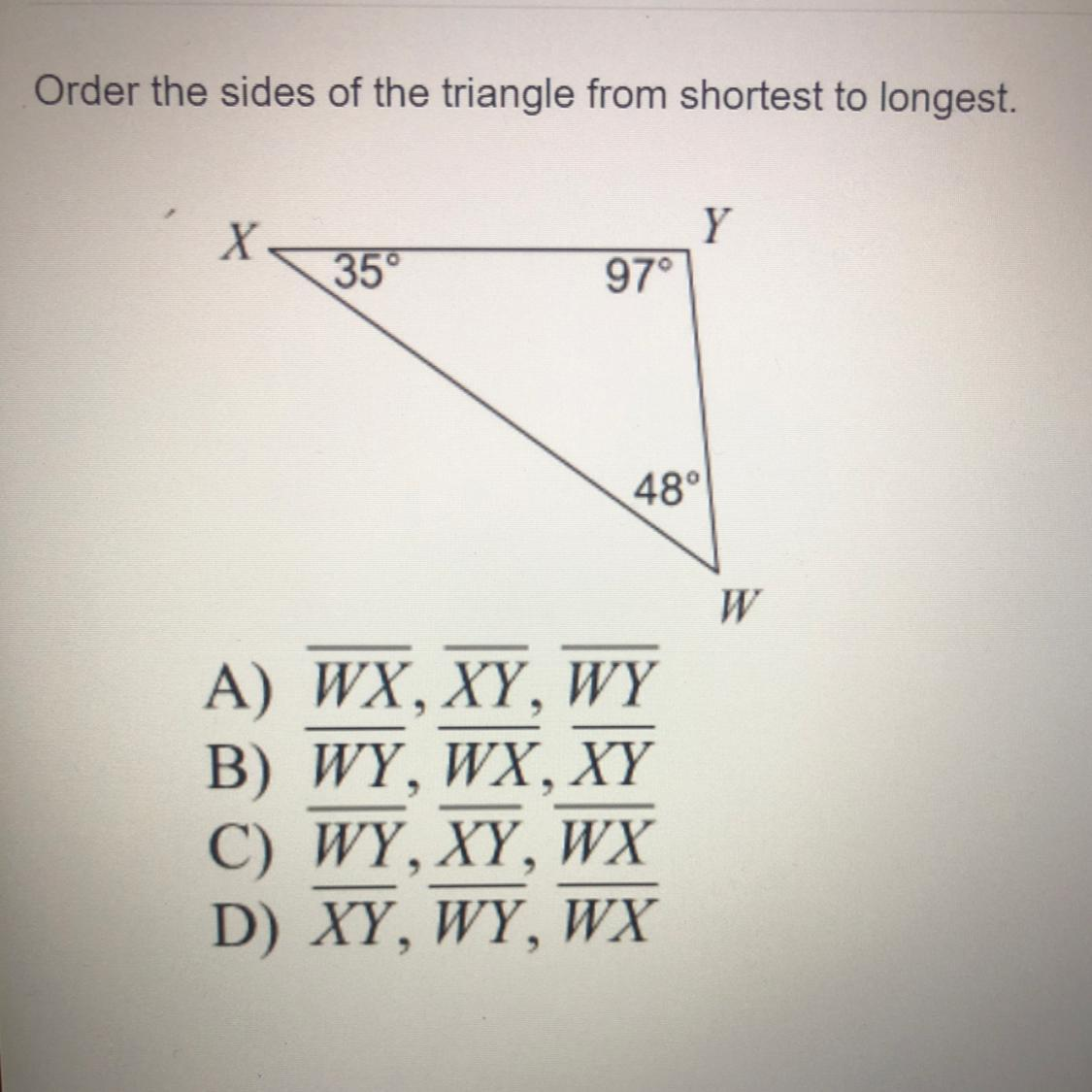 Order The Sides Of The Triangle From Shortest To Longest